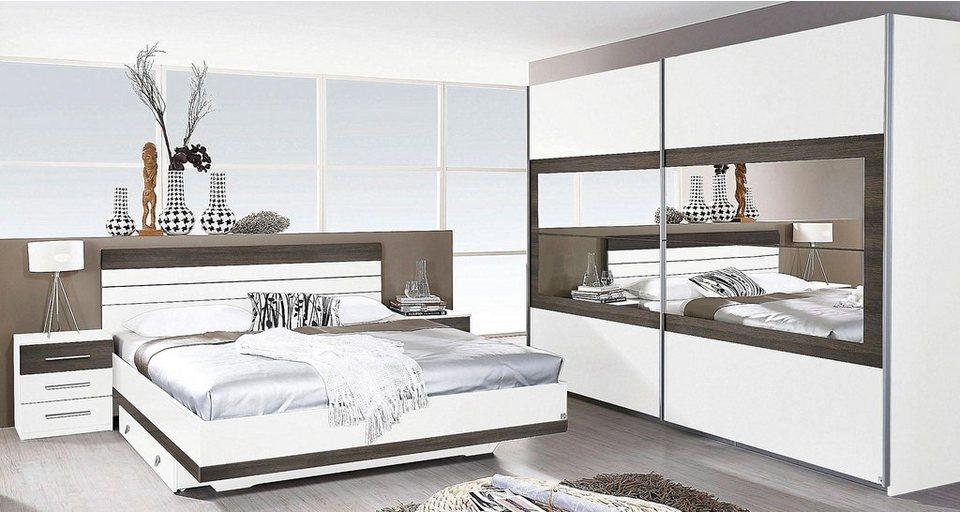 rauch Schlafzimmer-Set (4 tlg.) in weiß/wengefarben Shiraz