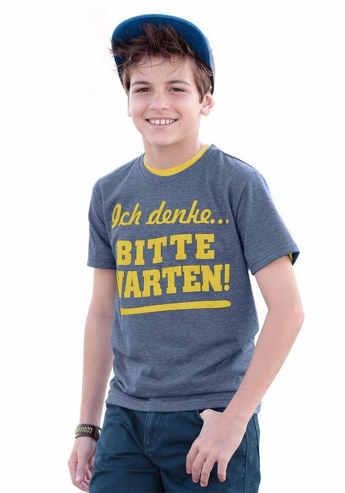 """KIDSWORLD T-Shirt """"Ich denke...bitte warten!"""" in marine-meliert"""