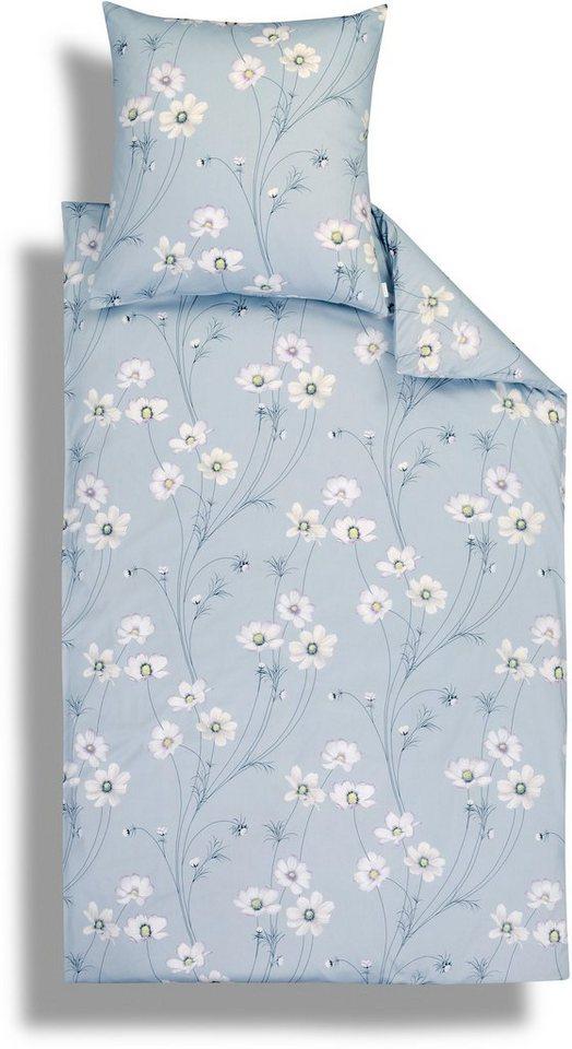 Bettwäsche, Estella, »Erla«, mit stilvollen Blumen in grau-blau