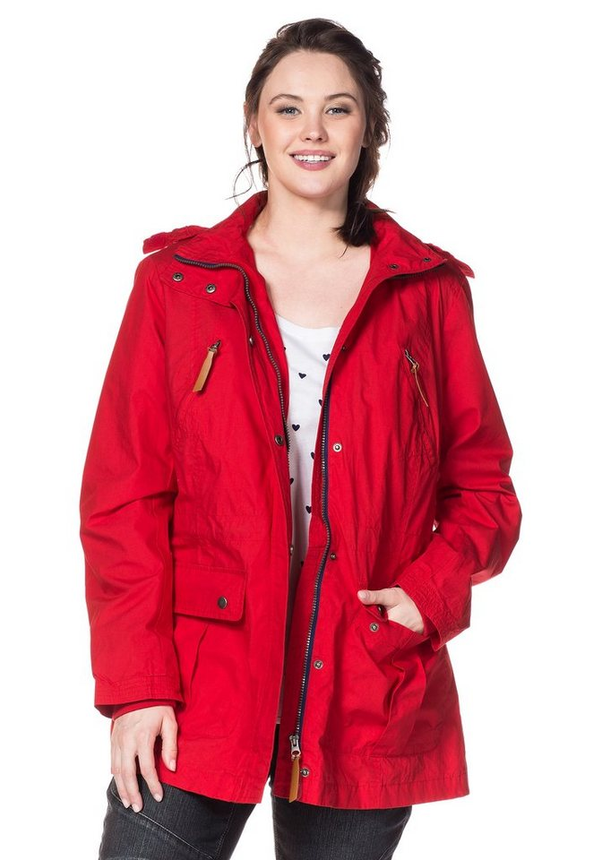 sheego Casual Parka in tomatenrot