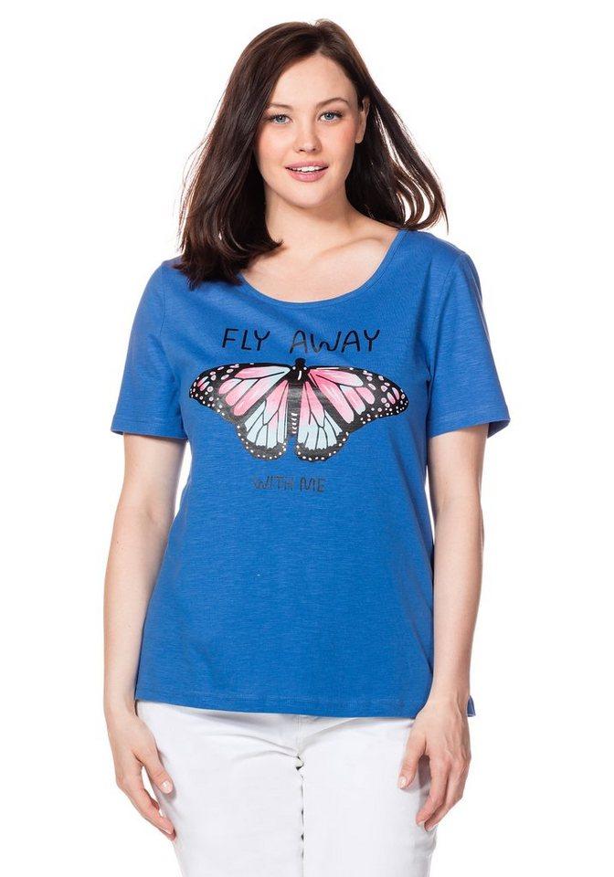 sheego Casual T-Shirt in ozeanblau