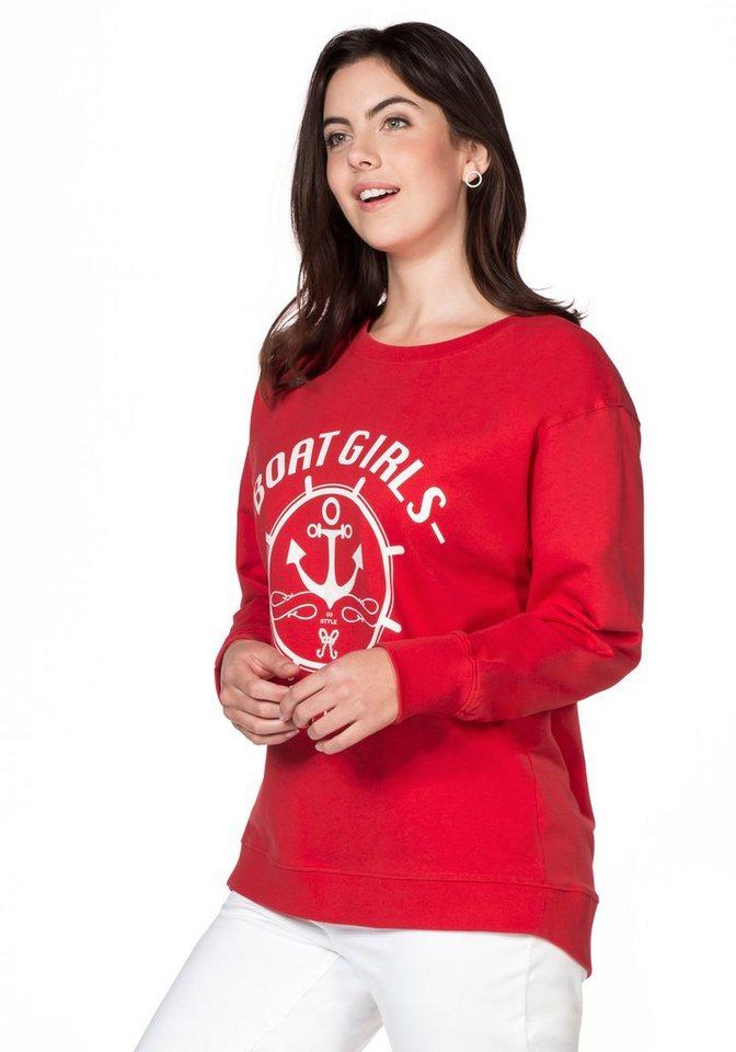 sheego Casual Sweatshirt mit Frontdruck in tomatenrot