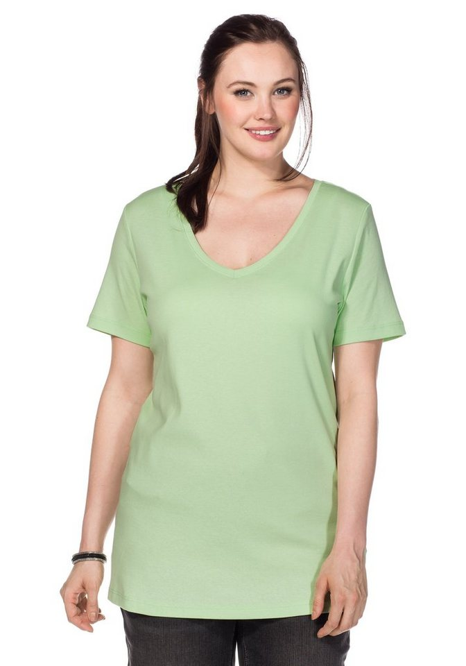 sheego Casual BASIC Shirt Long V-Ausschnitt in apfelgrün