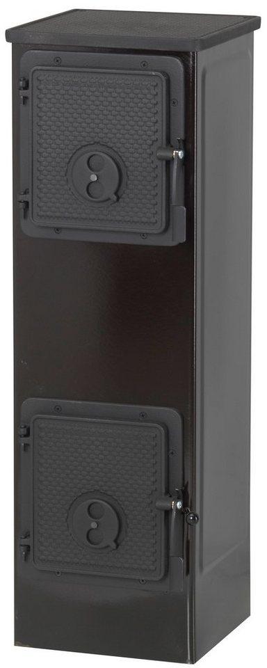 Werkstattofen »Kerpen«, Stahl schwarz, 5 kW, Gusstüren, Gusstoppplatte in schwarz