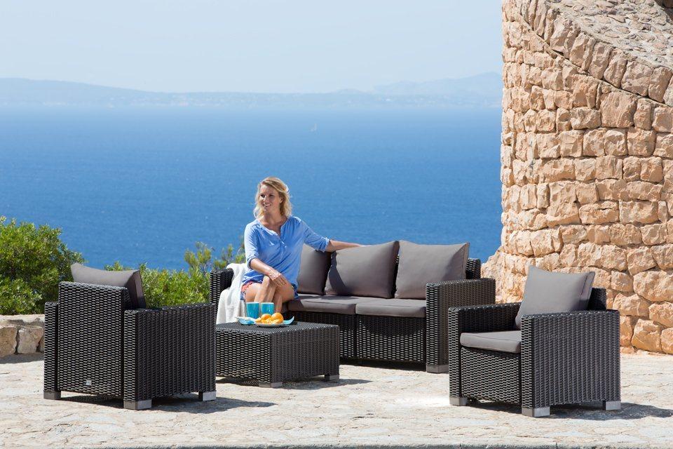 Best 15-tgl. Loungeset »Mombasa«, 3er-Sofa, 2 Sessel, Tisch 68x68 cm, Kunststoff in anthrazit