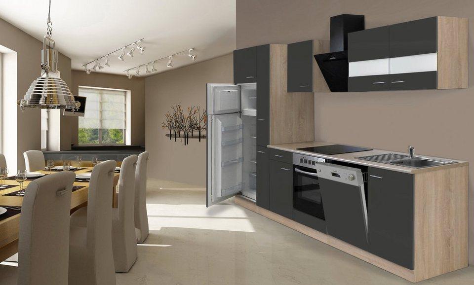 Küchenzeile mit E-Geräten »Hamburg«, Breite 310 cm in grau