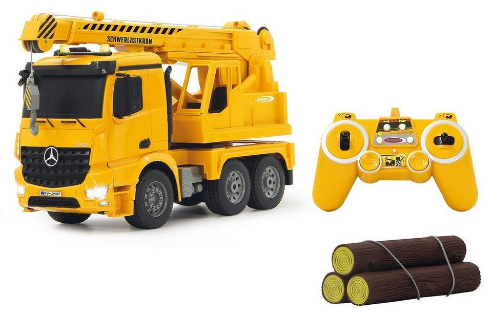 JAMARA RC Truck mit Signallichtern, Maßstab 1:20, »Schwerlastkran Mercedes Arocs« in gelb