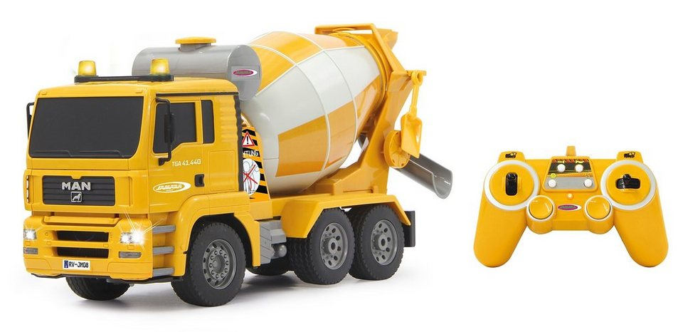JAMARA RC Truck mit Signallichtern, Maßstab 1:20, »Betonmischer MAN 2,4 GHz« in gelb