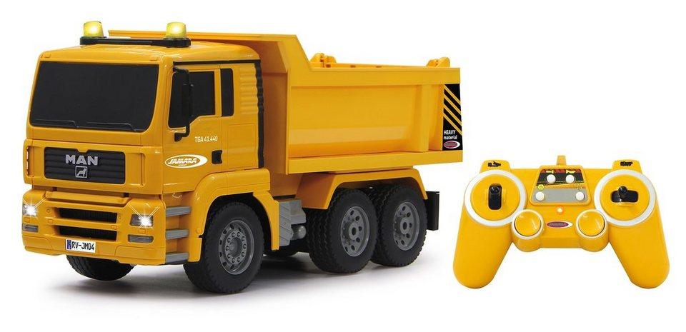 JAMARA RC Truck mit Signallichtern, Maßstab 1:20, »Muldenkipper MAN 2,4 GHz« in gelb
