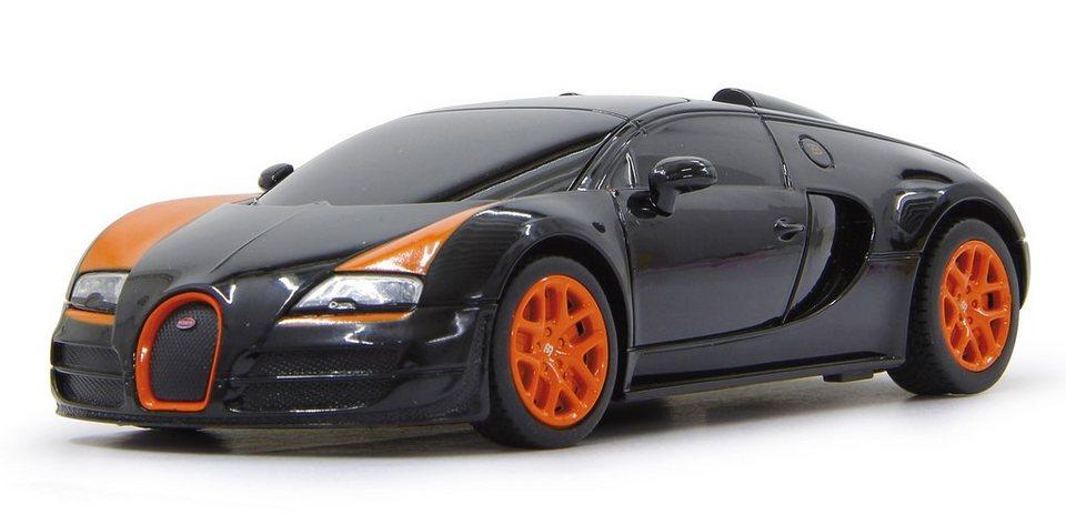 JAMARA RC Auto mit Beleuchtung, Maßstab 1:18, 27 MHz, »Bugatti Veyron, schwarz« in schwarz