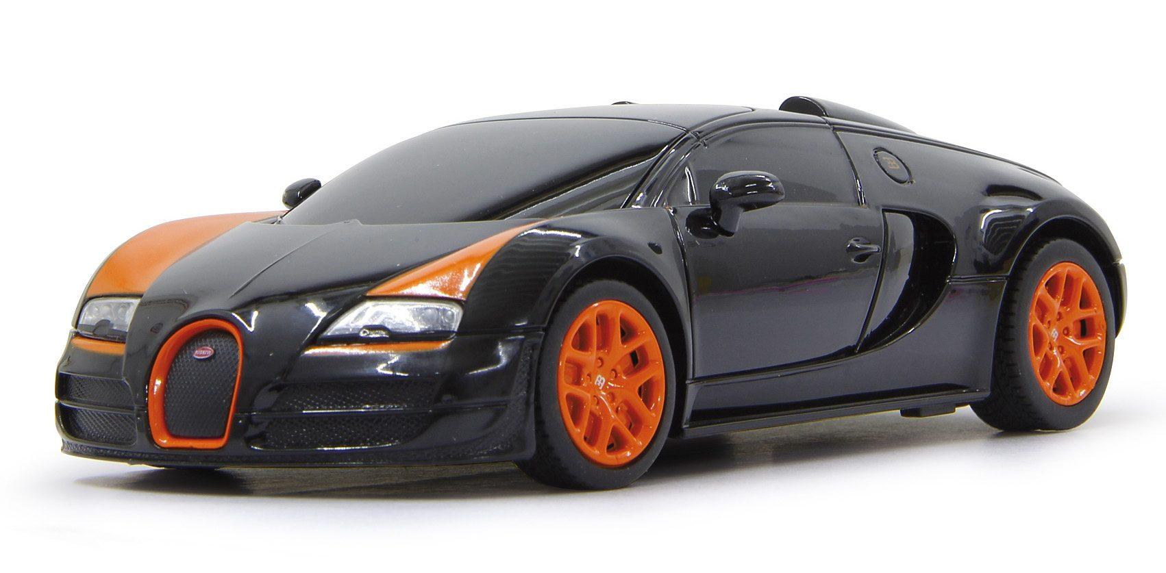 JAMARA RC Auto mit Beleuchtung, Maßstab 1:18, 27 MHz, »Bugatti Veyron, schwarz«