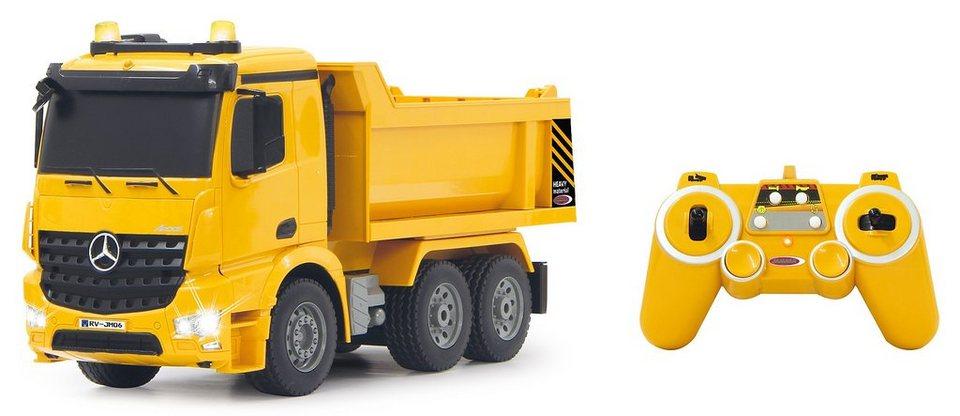 JAMARA RC Truck mit Signallichtern, Maßstab 1:20, »Muldenkipper Mercedes Arocs« in gelb