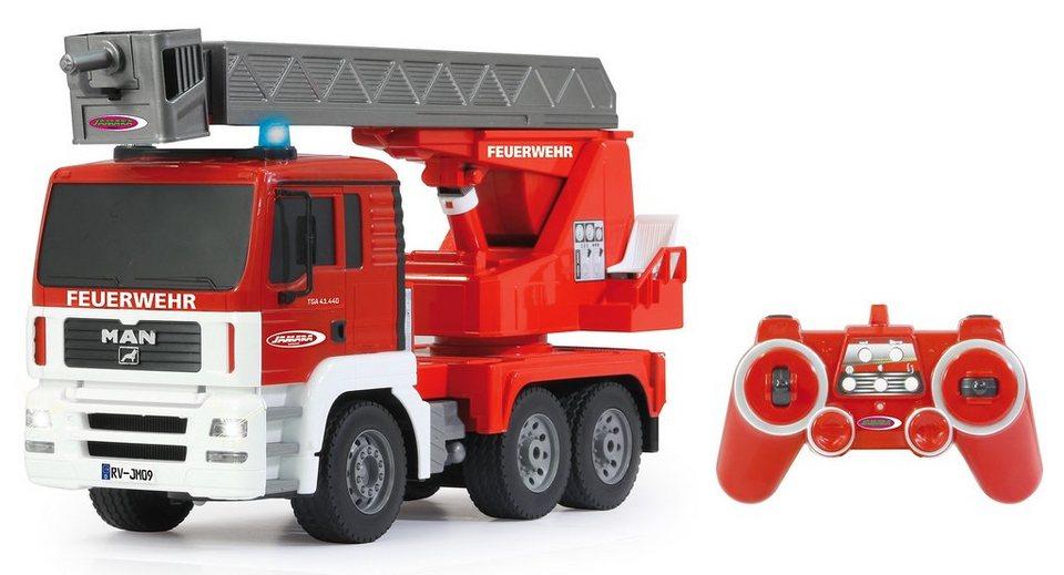 JAMARA RC Feuerwehrauto mit Beleuchtung, Maßstab 1:20, »Drehleiter MAN« in rot