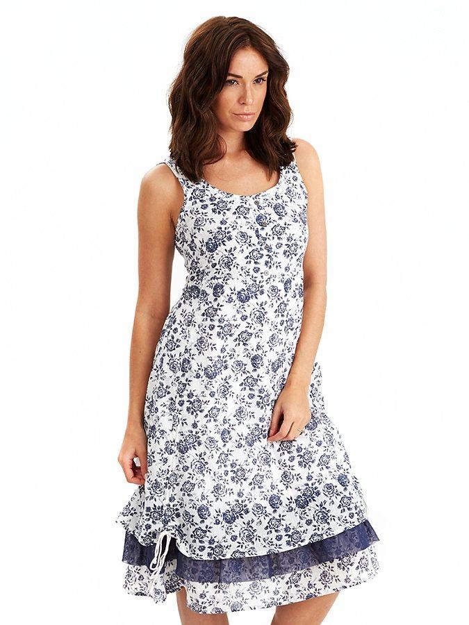 Kleid in weiß/blau