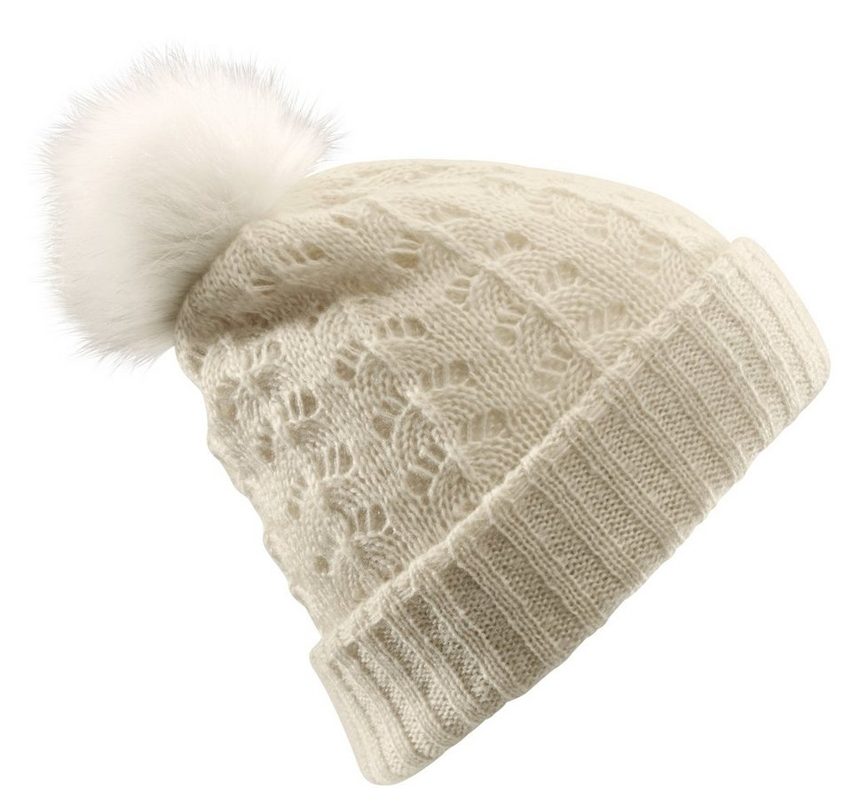 Loevenich Mütze mit Bommel in ecru