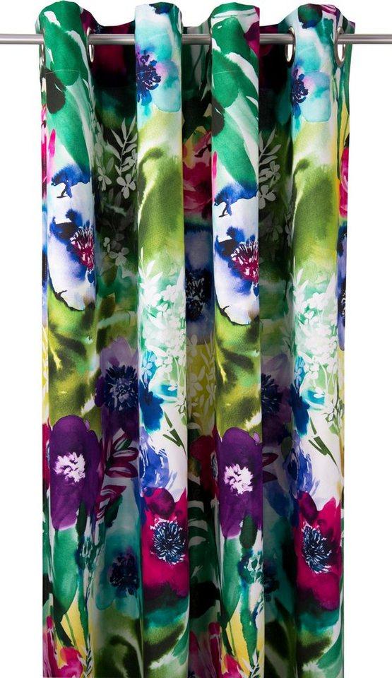 Vorhang, Tom Tailor, »Botanical Flowers«, mit Ösen (1 Stück) in bunt
