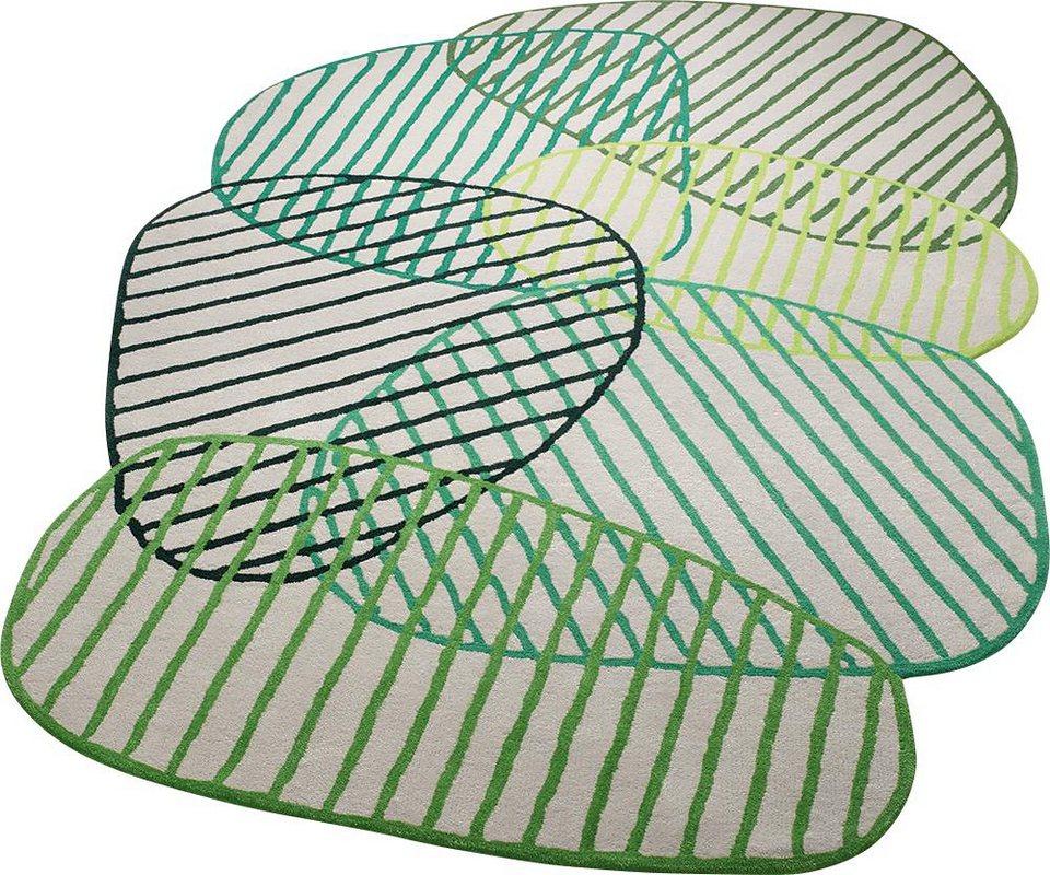 Teppich, ESPRIT, »Graphic Jungle«, Sonderform, handgetuftet in grün