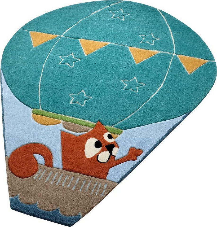 Kinder-Teppich, Oval, ESPRIT, »Balloon«, Sonderform, handgetuftet in blau