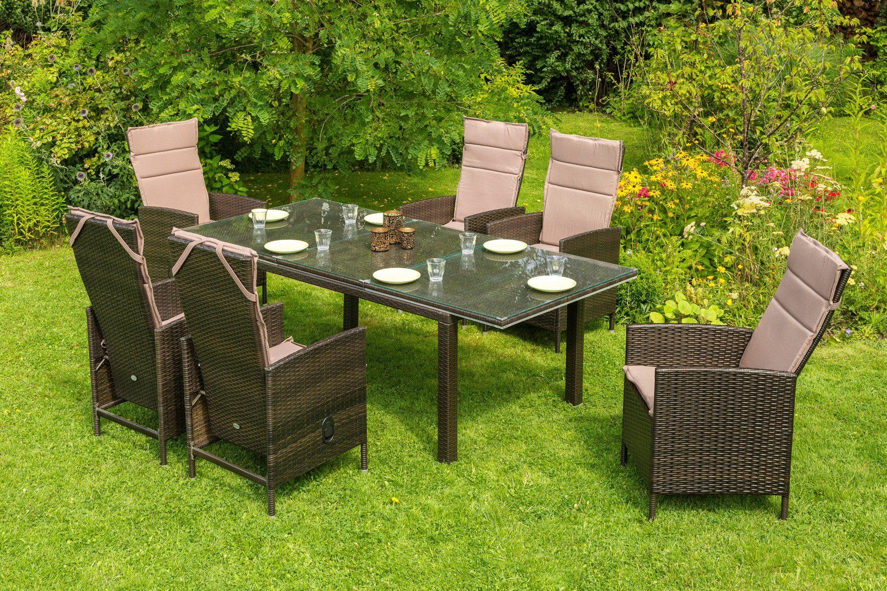 Gartenmöbelset »Madrid Premium«, 6 Sessel, Tisch 150-210 cm, Polyrattan, braun