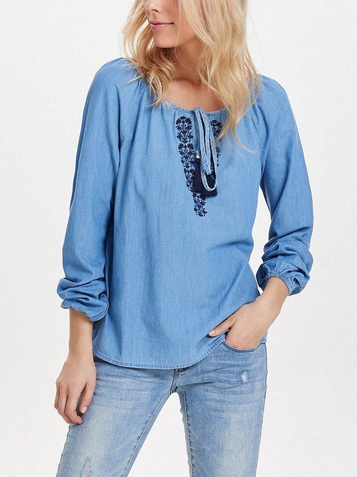 Only Jeans Oberteil mit langen Ärmeln in Medium Blue Denim