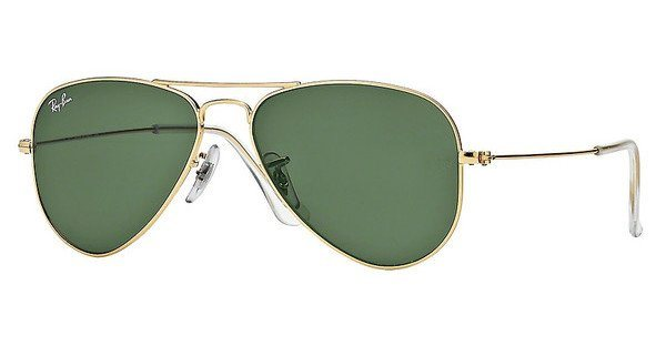 RAY-BAN Herren Sonnenbrille »AVIATOR SMALL METAL RB3044« in L0207 - gold/grün