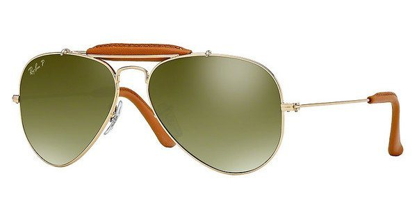 RAY-BAN Herren Sonnenbrille »AVIATOR CRAFT RB3422Q« in 001/M9 - gold/grün