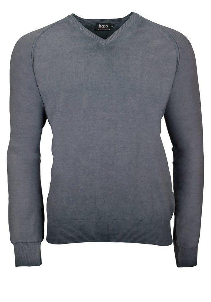 Hajo V-Pullover in grau