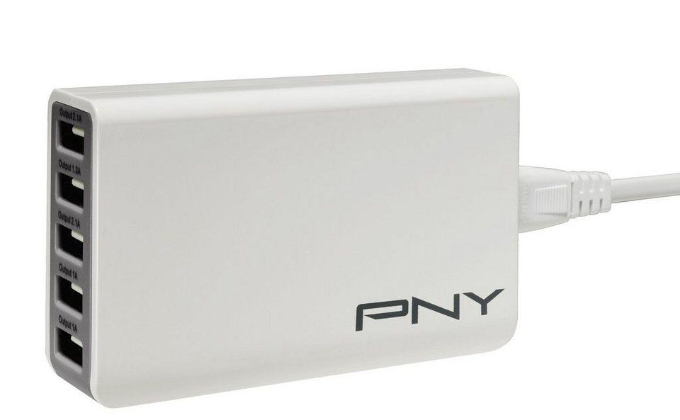 PNY Multi-USB Ladegerät »5 USB Ports / 25W (P-AC-5UF-WEU01-RB)« in weiß