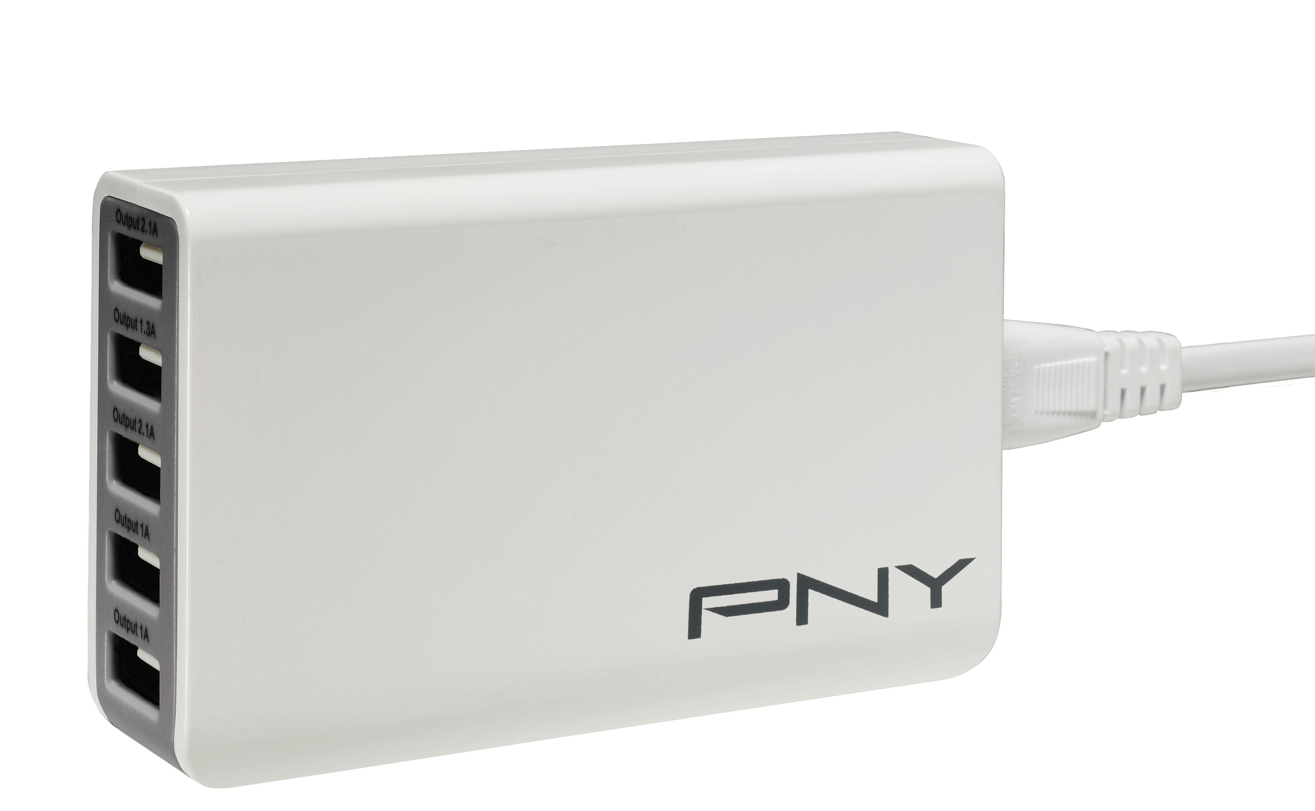 PNY Multi-USB Ladegerät »5 USB Ports / 25W (P-AC-5UF-WEU01-RB)«