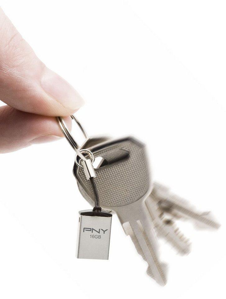 PNY USB 2.0 Micro M2 Attaché »16GB USB-Stick (P-FDI16G/APPMT2-GE)« in silber