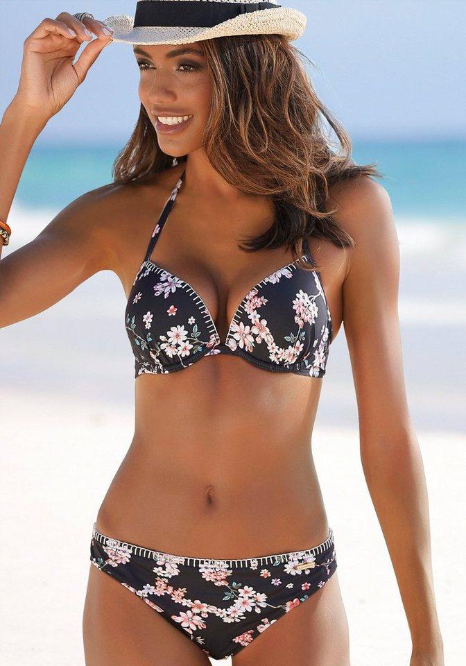 Bademode - Sunseeker Push Up Bikini Top »Ditsy«, mit Häkelkante › schwarz  - Onlineshop OTTO