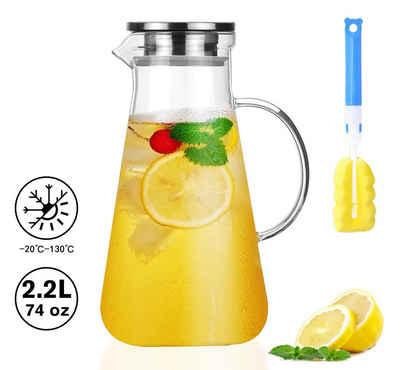 Homewit Wasserkaraffe »2,2L Glas Wasserkaraffe Wasserkrug Kühlkaraffe Glaskaraffe mit Edelstahl Filter«, (Set, 1-tlg., 2.2 L), für die Zubereitung und Servierung von heißen oder kalten Getränken
