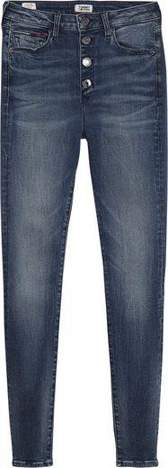 TOMMY JEANS Skinny-fit-Jeans »SYLVIA HR SUPER SKINNY ANKLE RXY« mit leichtem Destroyed Effekt & Tommy Jeans Logo-Badge