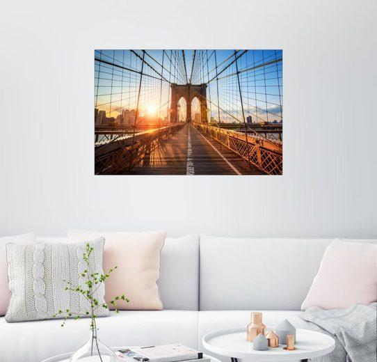 Posterlounge Wandbild, Premium-Poster Brooklyn Bridge in New York bei Sonnenaufgang