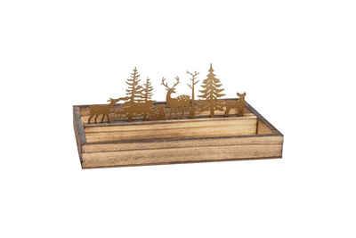 Parts4Living Weihnachtsfigur »Gesteckunterlage aus Holz und Metall Wald mit Hirschen Metallschnitt Weihnachtsdeko 25x16x10,5 cm«, im angesagten Landhaus Stil