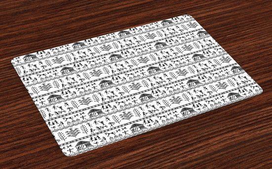 Tischdecke, »Waschbare Stoff Esszimmer Küche Tischdekorations Digitaldruck«, Abakuhaus, (4-teilig, 4 Teilig-St., Set aus 4x), Stammes Stammeskunst