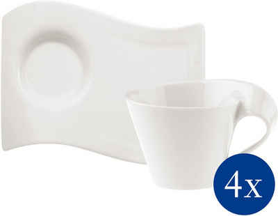 Villeroy & Boch Cappuccinotasse »NewWave Caffè Cappuccino-Set«, Porzellan, 4 Cappuccinotassen, 4 Partyplatten