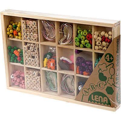 Lena® Bastelperlen »Holzperlen ABC zum Fädeln in Holzkiste, 315 Perlen«