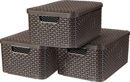 Curver Aufbewahrungsbox »Style Box M« (Set, 3 Stück), dunkelbraun