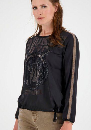 Monari Shirtbluse mit glitzerndem Strass-Tiger und Lack -Schriftzug