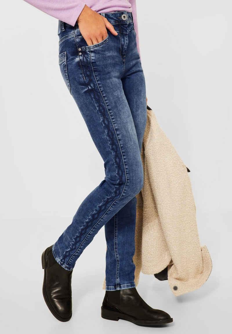 Cecil Slim-fit-Jeans mit Stickerei
