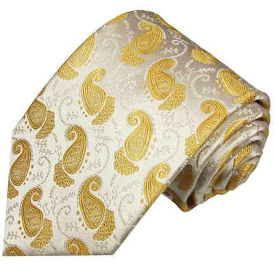 Paul Malone Krawatte »Elegante Seidenkrawatte Herren Schlips modern paisley brokat 100% Seide« Breit (8cm), ivory gold 886