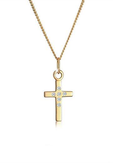 Diamore Collierkettchen »Kreuz Glaube Fein Diamant (0.03 ct) 585 Gelbgold«