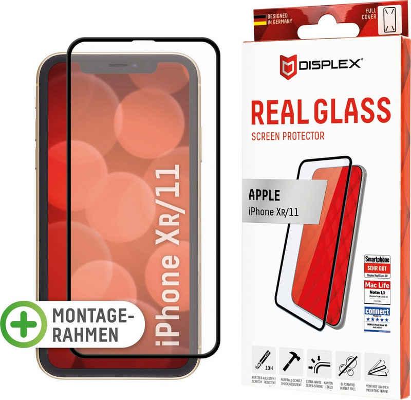 Displex »DISPLEX Real Glass Panzerglas für Apple iPhone XR/11 (6,1), 10H Tempered Glass, mit Montagerahmen, Full Cover« für Apple iPhone 11, Apple iPhone XR, Displayschutzglas