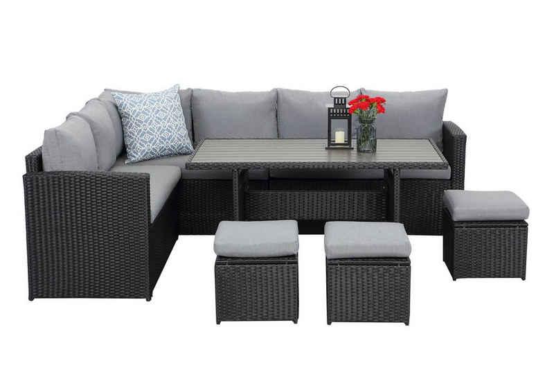 MeXo Gartenmöbelset »Gartenmöbel Set Rattan«, Loungeset Polyrattan Lounge Sitzgruppe Couch-Set für 6-9 Personen für Garten, Terrasse & Balkon