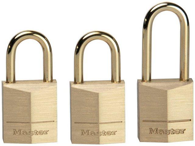Master Lock Vorhängeschloss, Sicherheitsklasse 2, (Set, 3-tlg), Messing, gleichschließend