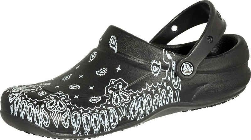 Crocs »Bistro Graphic Clog schwarz/weiß« Clog Sicherheitsklasse OB, Croslite
