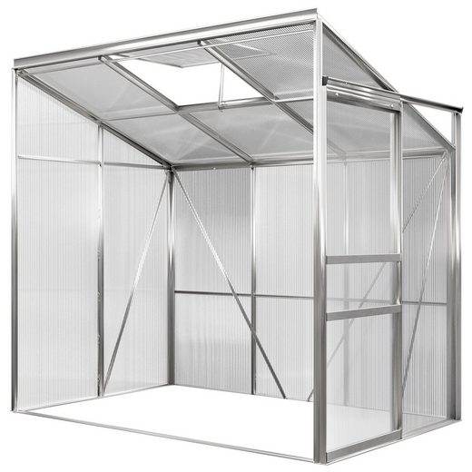 Gardebruk Gewächshaus, Beistell Aluminium 3,65m³ 192x127cm Treibhaus Gartenhaus Frühbeet Pflanzenhaus Aufzucht