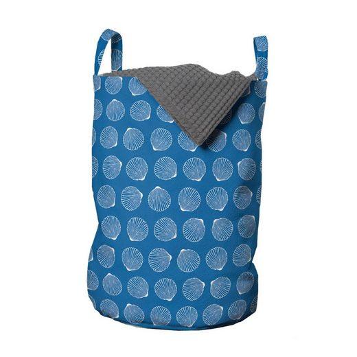 Abakuhaus Wäschesack »Wäschekorb mit Griffen Kordelzugverschluss für Waschsalons«, Ozean Monochrome SCALOP Shell-Motiv