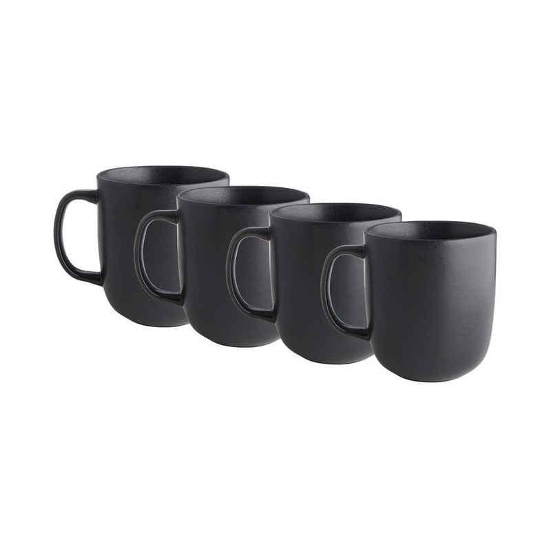 BUTLERS Tasse »CASA NOVA 4x Tasse mit Henkel 400ml«, Steinzeug, reaktive Glasur, 4x Tasse mit Henkel in Grau - Füllmenge: 400ml -aus Steinzeug - Kaffeetasse, Teetasse